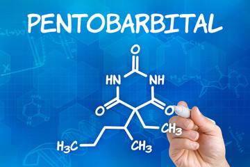 Hand  zeichnet chemische Strukturformel von Pentobarbital