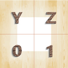 Y Z 0 1 wooden font with shadow on wood boards background