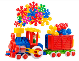 Colorful toy train with incredible steam