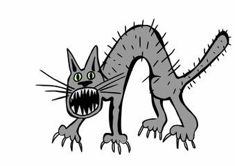 doodle cat hissing