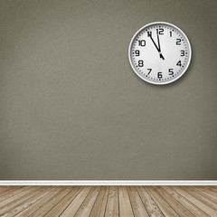 Empty Room / Wooden Floor with Clock