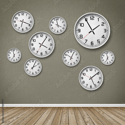 canvas print picture Wall of Clocks