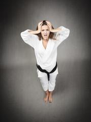desperate athlete with kimono