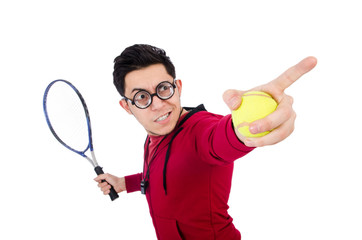 Funny tennis player isolated on white