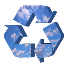 Recycle symbol with sky texture
