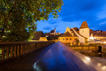 Night view of Cesky Krumlov, Czech Republic.