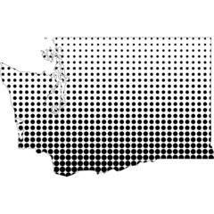 Illustration of map with halftone dots - Washington.