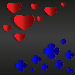 Red hearts and blue flowers, Valentine day card