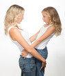 canvas print picture - Beautiful blondes, a mother and kid together