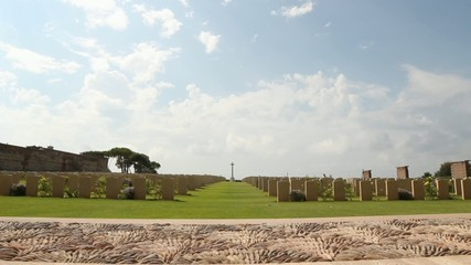 World war II Allied cemetery in Anzio, Rome, Italy