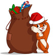 Cartoon christmas squirrel with bag of gift