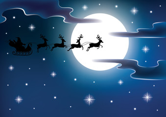 Silhouette of a Santa on a flying sledge.