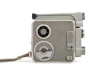 Old video camera isolated on white.