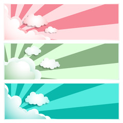 Sunray Sunburst Cloud Set Pink, Blue, Green, Vector illustration