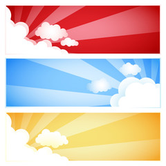 Sunray Sunburst Cloud Set, Vector illustration