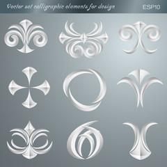 Vector set calligraphic elements for design. vector illustration