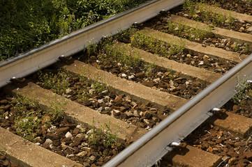 close up photo of the train tracks.