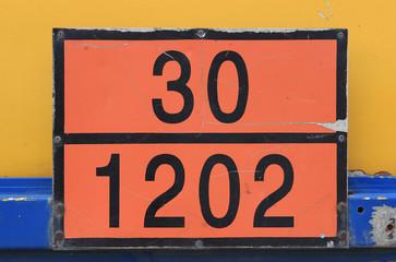 Orange plate with hazard identification number