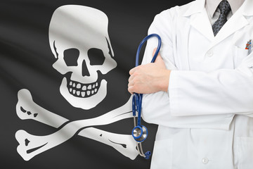 Doctor with Jolly Roger flag on background