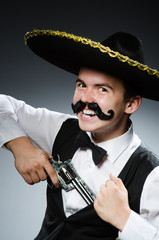 Funny mexican with sombrero in concept