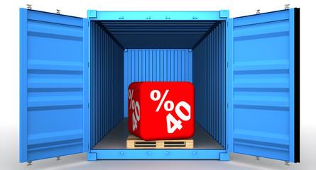 Скидка 40 процентов в открытом грузовом контейнере