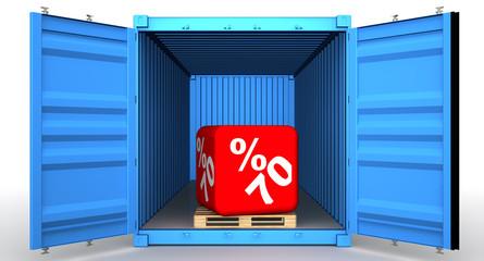 Скидка 70 процентов в открытом грузовом контейнере