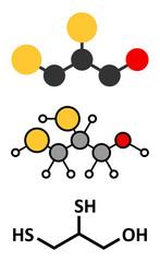 Dimercaprol (BAL, British Anti-Lewisite) metal poisoning drug