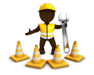 3D Morph Man Builder with Caution Cones