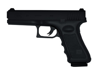 Arme de poing sur fond blanc