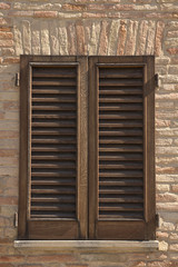 Window Wood Shutters of Home wood closed
