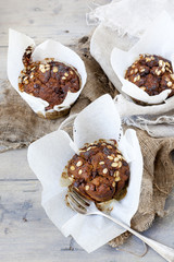 muffins with pumpkin chocolate and oat flakes packaged