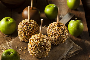 Homemade Taffy Apples with Peanuts