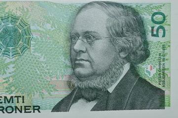 peter christen fifty  Norwegian kroner banknote