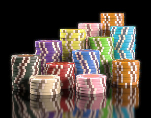 Gambling chips. Clipping path included.