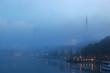 Foggy river Weser Bremen Germany