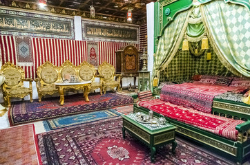 Detail of an Arab-style bedroom with bed and tea room