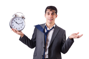Man with clock afraid to miss deadline isolated on white