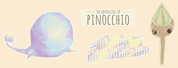 Pinocchio with the whole and sea scenography illustration