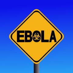 Danger Ebola biohazard sign on blue illustration