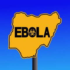 Danger Ebola biohazard Nigeria map sign on blue illustration