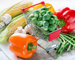 Fresh vegetables over light background