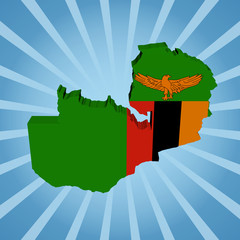 Zambia map flag on blue sunburst illustration