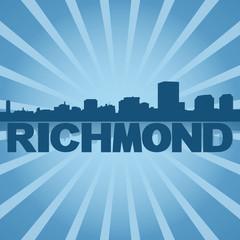 Richmond skyline reflected with blue sunburst illustration