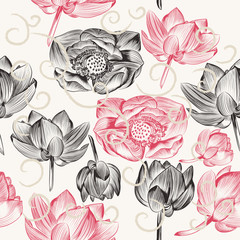 Seamless wallpaper pattern with lotus flowers