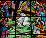 Jesus and Veronica on the Via Dolorosa - stained glass