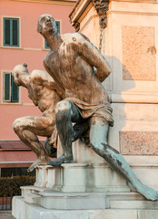Livorno, Italy. I Quattro Mori. The four moors landmark in Legho