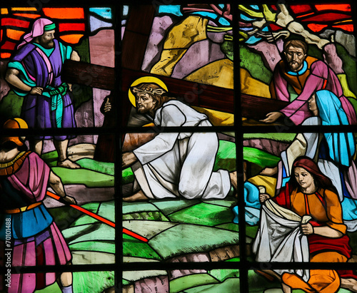 Zdjęcia na płótnie, fototapety, obrazy : Jesus and Veronica on the Via Dolorosa - stained glass