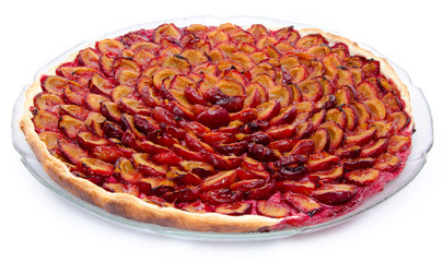 Tasty plum tart after baking