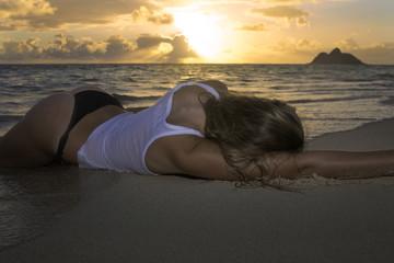 girl in bikini at the beach