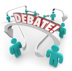 Debate Word People Connected Arrows Arguing Disagreement